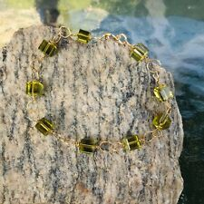 Peridot Crystal Cube and Gold Wire Wrapped Bracelet by CurlanceCreations