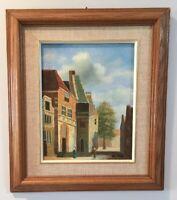 Vintage Oil Painting On Board Paris Street Building Scene France Signed Eli Hilu