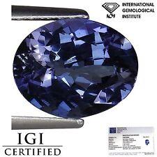 2.36 Ct IGI Certified A+ Natural D Block Tanzanite Blue Violet Color Oval Cut
