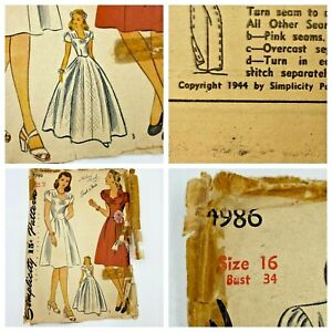 Vintage 1940s Simplicity Sewing Pattern 4986 Dress Evening Gown Bust 34 PT3