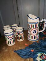 Vintage Pottery Clay Handmade Painted Jug Ewer Pitcher & 4 Beakers. Boho Hippy