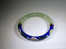 Rare Spectacular Vintage Cloisonne and Chinese Jade Bangle Bracelet 1900-1940's