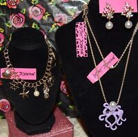 3PC BETSEY JOHNSON PURPLE OCTOPUS W/CRYSTALS NECKLACE CORAL EARRINGS & BRACELET