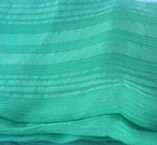 Green Silk Chiffon Self Stripe Crinkle