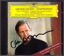 John Eliot GARDINER Signed MENDELSSOHN Symphony No.4 Italian 5 Reformation DG CD