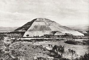 1934 Vintage MEXICO Teotihuacan Mesoamerican Pyramid Landscape Photo Art 11x14