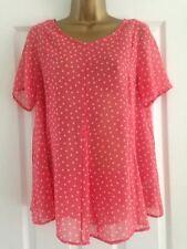 BNWT NEXT Pink Star Print Short Sleeved Chiffon Swing Top Blouse Size 12