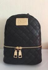 NEW BEBE Women's Danielle Mini Quilted Backpack Handbag Bag Purse BLACK