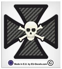 "100mm-4"" Maltese Iron Cross Scull Carbon Fiber Laminated Decal Sticker bobber vw"