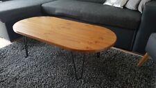 Rustic Vintage Industrial Oblong Wooden Coffee Table Metal Hairpin Legs