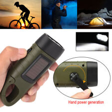 new Hand Crank Solar Powered Rechargeable LED Camping Emergency Flashlight Torch
