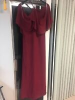 Long burgundy formal gown/bridesmaid dress, size 18, preowned