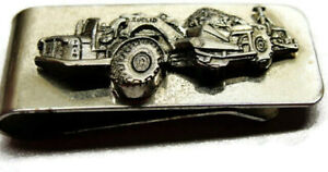 Money Clip Euclid Scraper Dirt Mover Stainless Steel Wallet Vintage Silver Tone