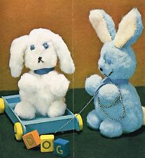 Cuddly Puppy and Rabbit knitting pattern. Laminated copy.