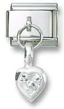 Italian Charm Dangle Birthstone Heart CZ Sterling Silver April Stainless Steel