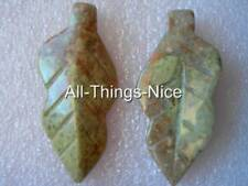 45mm PICTURE JASPER Leaf Centrepiece Focal Bead Charm Pendant Necklace Making