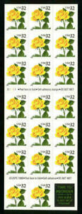 US 32¢ Yellow Rose $6.40 Booklet of 20 Stamps #3049a VF MNH Pl. S1111