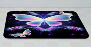 Psychedelic Butterfly Bath Mat Toilet Cover Rug Shower Curtain Bathroom Decorset