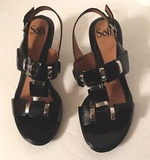 women's shoes  8WW SOFFT Black Leather slingbacks sandals Block Heel HIGH