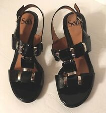 women's shoes  8WW SOFFT Black Leather slingbacks sandals Block Heel HIGH
