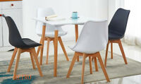 square Dining table and 4 tulip chairs retro .,.