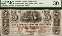 LARGE 1860 $5 DOLLAR No 100 SOUTH CAROLINA BANK NOTE CURRENCY PAPER MONEY PMG 30
