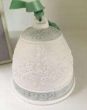 Lladro Christmas Bell 1992 -Christmas Candles- w/ Box and Ribbon LtGreen/Wht