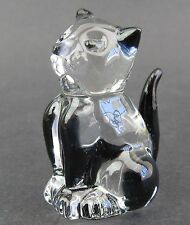 Clear Glass Cat Figurine Miniature,  4.5cm High Boxed Black Highlights