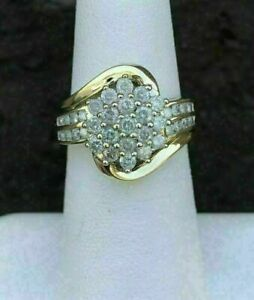 2.00 Ct Round Cut D/VVS1 Diamond Cluster Engagement Ring 9ct Yellow Gold Finish