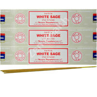 3 x WHITE SAGE Satya Genuine Nag Champa Incense / Joss Sticks Insence/Insense