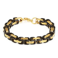 Fashion Men Byzantine Box Chain Link Stainless Steel Wristband Bracelet Bangle