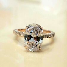 3.50Ct Oval-Cut VVS2 Diamond Solitaire Engagement Ring 14k Rose Gold Finish