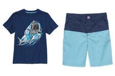 Gymboree Rock the Waves Shark Tee Shirt Colorblock Shorts Set Boys 4 4T NEW NWT
