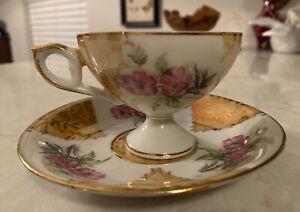 Footed Stemmed China Tea Cup Saucer Irridescent Pink Flower Gold Vintage 124