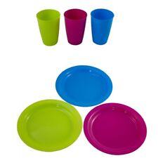 24 x  Campinggeschirr Partygeschirr Plastikteller Plastikbecher Kunststoffteller