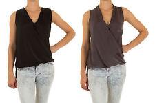 Markenlose ärmellose hüftlange Damenblusen, - tops & -shirts mit V-Ausschnitt