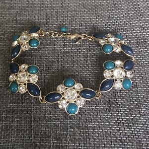 Navy Blue & Teal rhinestone link bracelet Avon