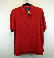 Fridays Short Sleeve Men's Large Polo Shirt Burgundy Solid 100% Cotton NWT