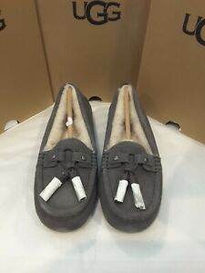 New In Box UGG Litney Grey Suede Womens Slippers Wool Lining Women's Size 6