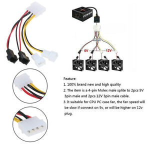 PC 4-Pin Molex/IDE to 3-Pin CPU/Chasis/Case Fan Power Cable Adapter Connecto Un