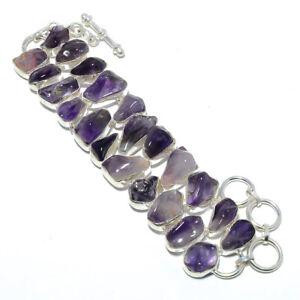 """Amethyst - Mashamba Gemstone 925 Sterling Silver Ethnic Bracelet 7-7.99"""" S2631"""