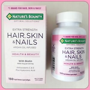 NIB NATURE'S Bounty Extra Strength Hair Skin & Nails 150 Rapid Release Softgels