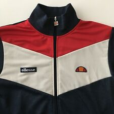 ELLESSE Mens Tracksuit Top Jacket Funnel Neck Zip Blue Mod Casuals SMALL-MEDIUM