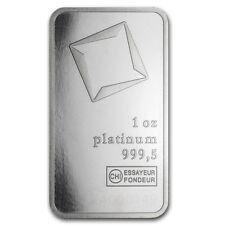 1 oz Platinum Swiss (Switzerland) Valcambi Bar
