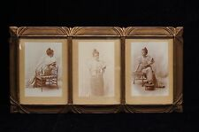 Antique 3 Panel Art Deco Portrait in Gold Frame Young Lady Photograph 17""