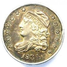 1834 Capped Bust Half Dime H10C Coin - Certified ANACS AU55 Details - Rare!