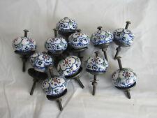 Vtg Lot Of 11 Porcelain Door Knobs-White Blue Painted