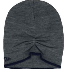 Men's NEW ERA Beanie Toque Winter Slouch Edge Knit Hat Grey Sinched