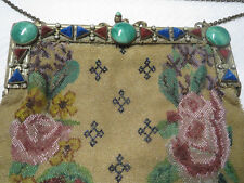 Antique Jeweled Frame Purse Micro Glass Beaded Floral Scene Czeck Stones Large