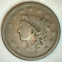 1838 Coronet Head US Large Cent Copper Coin YG You Grade 1c US Penny Coin